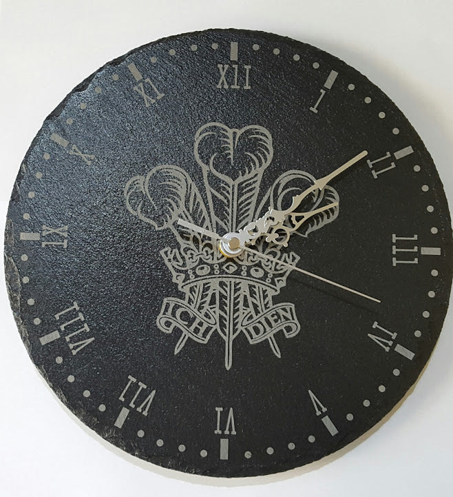 Authentic Welsh Feathers Slate Clock