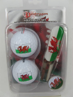 WELSH GIFT GOLF SET - 2 BALLS/ FORK & MARKER