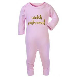 Welsh Princess - Welsh Baby Romper Suit PINK