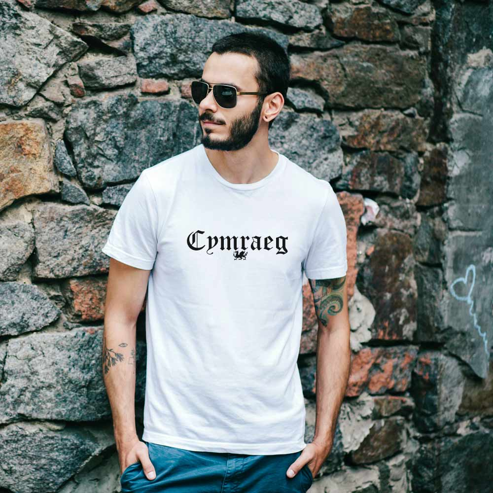 Cymraeg Dragon - Simple Organic White T Shirt