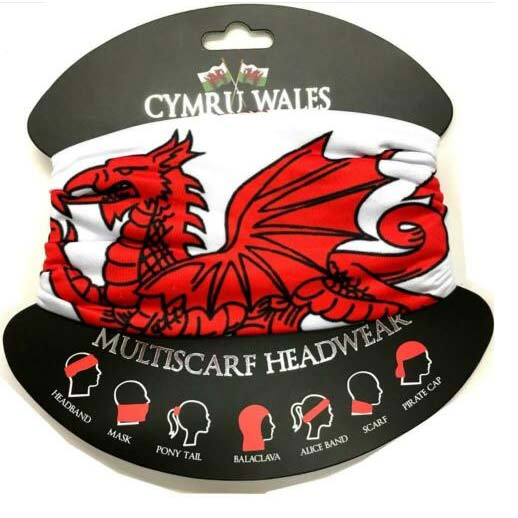 Welsh Dragon Buff Style head Scarf WHITE