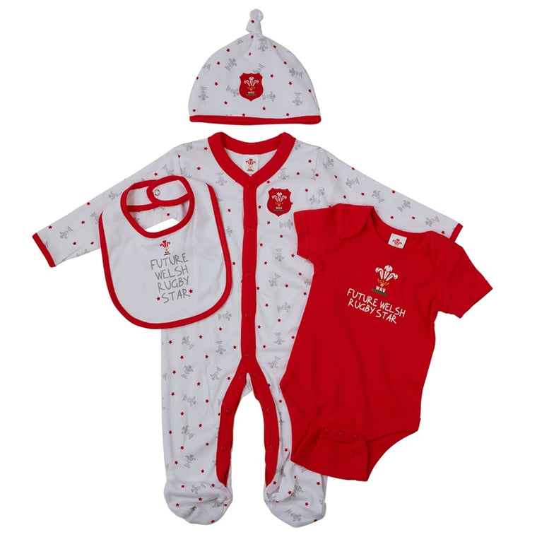 Official WRU Welsh Baby Starter Set - 4 Pack