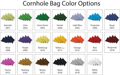 Classic Corn-Filled Cornhole Bags color options