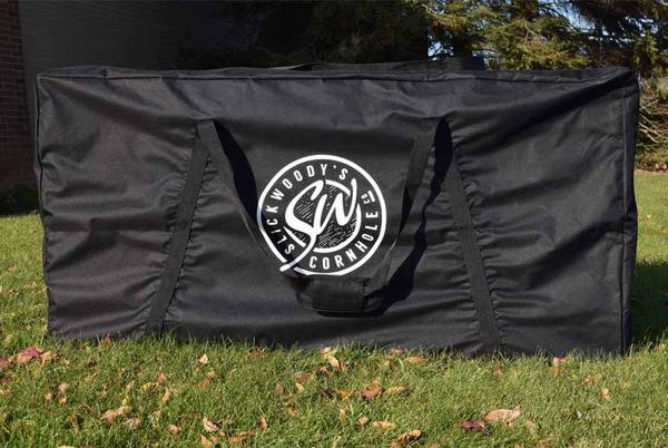 Cornhole set carrying case featuring the Slick Woody's logo