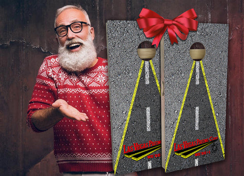 Las Vegas Paving Company Custom Corporate Cornhole Board Holiday Gift Santa Claus