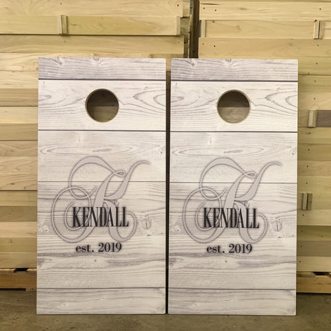 Custom cornhole boards for a wedding gift