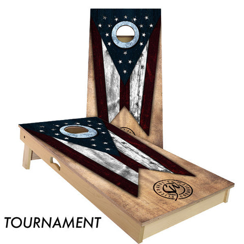 Ohio State Flag Cornhole Board