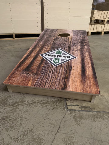 Custom cornhole board design for Olde Wood Limited