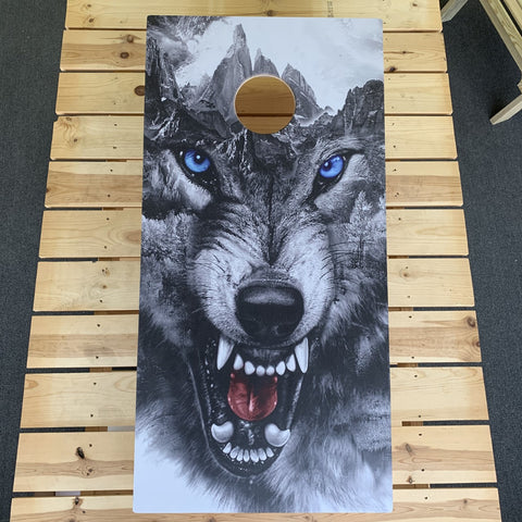 Custom cornhole board design with wolf artwork