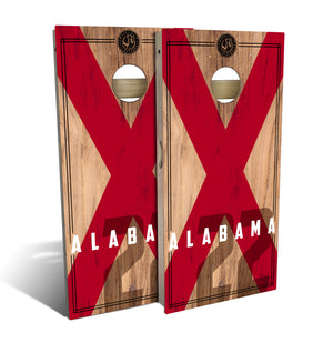 Alabama State Flag Cornhole Board Set