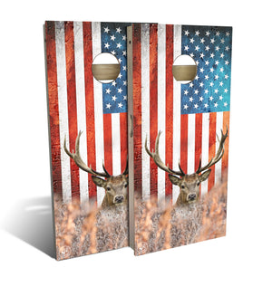 cornhole board set with big buck and american flag
