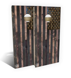 Quick Ship Rustic Wood American Flag Cornhole Board Set (includes 8 bags)