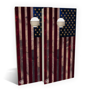 Full-Color Rustic Wood American Flag Cornhole Set