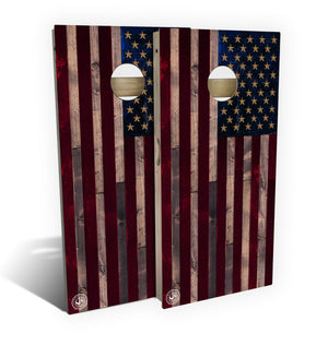 Quick Ship Full Color Rustic Wood American Flag Cornhole Board Set