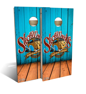 cornhole board set with Slick Woody's Heritage logo on Angled wood design