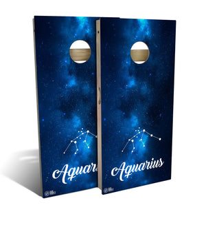 cornhole board set with aquarius zodiac design