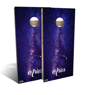 cornhole board set with aries zodiac design