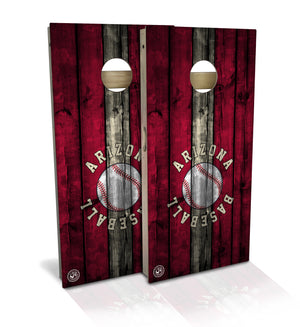 cornhole board set with arizona baseball