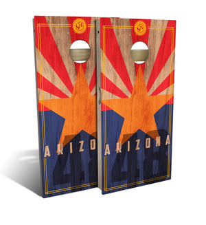 Arizona State Flag Rustic Cornhole Board