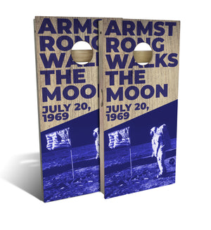 Armstrong Walks the Moon Cornhole Set