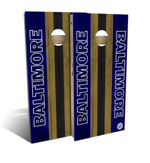 cornhole board set with Baltimore Ravens football design