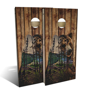 bear mountain nature cornhole boards
