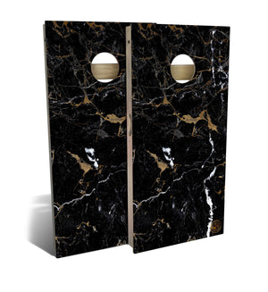 Black Marble Cornhole Board Set (includes 8 bags)