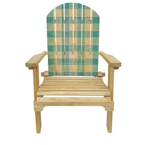 Country Living Blue Checker Pattern Adirondack Chair