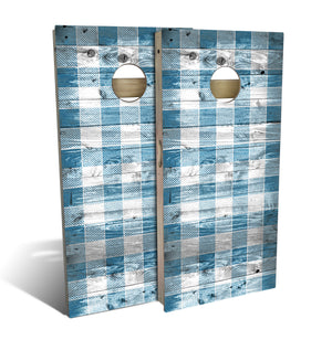 Country Living Blue Checker Cornhole Board Set (includes 8 bags)