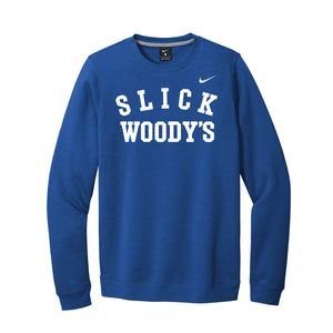 Front of Slick Woody's Nike Crewneck Sweatshirt (Blue)