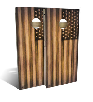 Burnt Wood American Flag Cornhole Set (includes 8 bags)