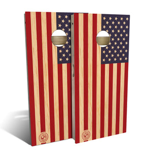 Butternut Wood American Flag Cornhole Set (includes 8 bags)