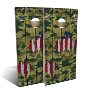 cornhole board set with camo and american flag design