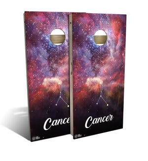 cornhole board set with Cancer zodiac design