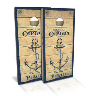 Captain Pirate Cornhole Board Set (includes 8 bags)