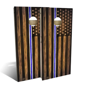EMS Thin Blue & White Line Cornhole Board Set