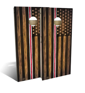 Nurse Thin Red & White Line Cornhole Board Set