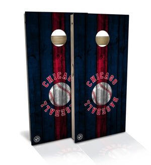 cornhole board set with chicago baseball