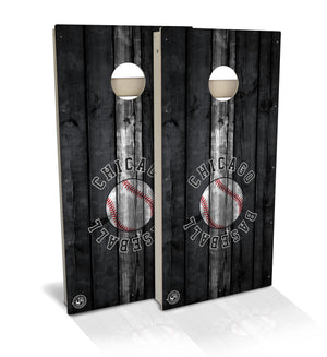 Chicago Black & White Baseball Cornhole Board Set (includes 8 bags)