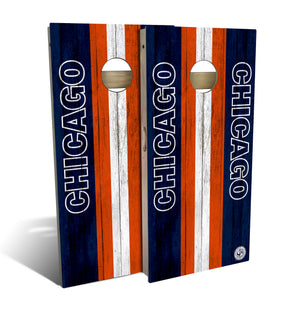 cornhole board set with Chicago Bears football design