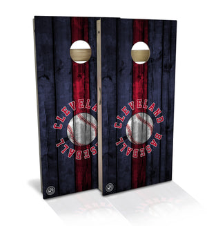 cornhole board set with cleveland baseball