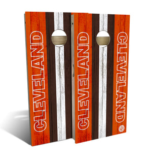cornhole board set with Cleveland Browns football design