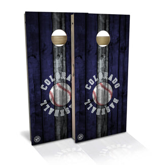 cornhole board set with colorado baseball