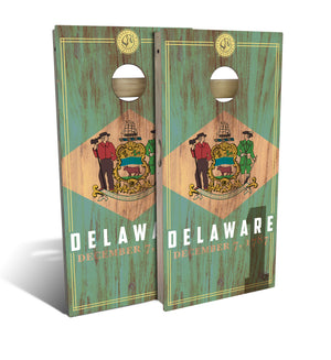 Delaware State Flag 2.0 Cornhole Board Set (includes 8 bags)