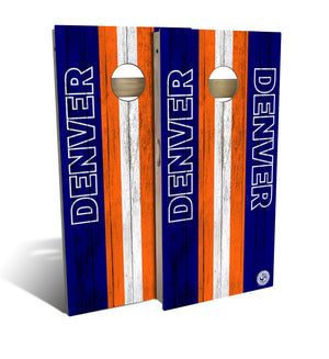 cornhole board set with Denver Broncos football design