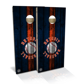 cornhole board set with detroit baseball