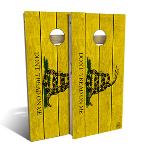 cornhole board set with don't tread on me flag design