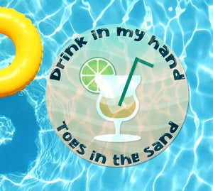 Drink In My Hand Toes in the Sand #1 Underwater Pool Mat Tattoo