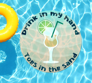 Drink In My Hand Toes in the Sand #5 Underwater Pool Mat Tattoo