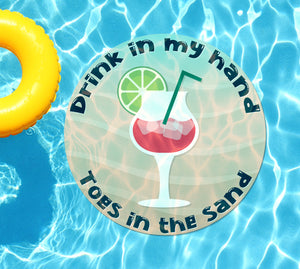 Drink In My Hand Toes in the Sand #6 Underwater Pool Mat Tattoo